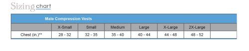 size chart male vest